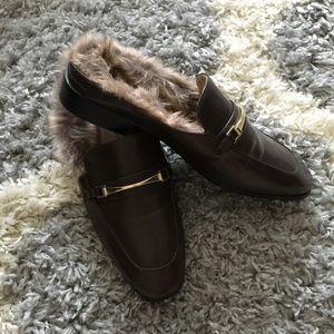 Fur loafers NWOT